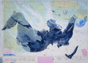 Blauer Akt auf Seekarte II_2012, Acryl auf Seekarte, ca. 130x100