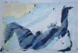 Blauer Akt auf Seekarte I_2012, Acryl auf Seekarte, ca. 130x100