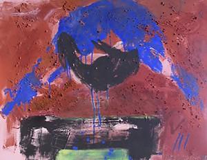 Blauer Akt mit schwarzem Lamm_1995, Acryl a. Leinwand, 120x90