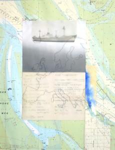 """""""Swellendam"""" im Nebel_2012, Collage auf Seekarte, 60x50"""