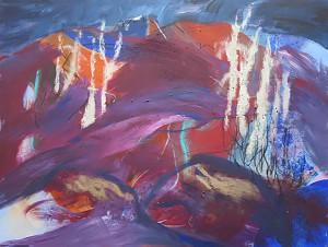 Heidelandschaft mit Birken_2015, Acryl a. Leinwand_120x90