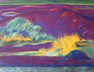 Landschaft mit Ginster_2015, Acryl a. Leinwand, 120x90
