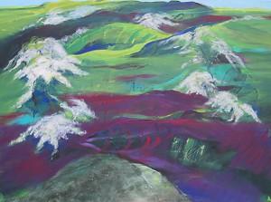 Landschaft mit Weissdorn und Hügelgrab_2015, Acryl a. Leinwand, 120x90