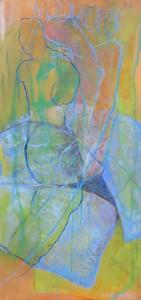 Liebespaar über Steinen_2011, Acryl a. Leinwand, 110x50