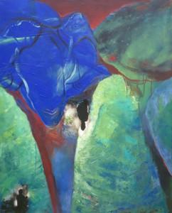 Mit Tier und Schatten_2014, Acryl a. Leinwand m. Collage, 100x80