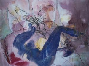Paar_2011, Acryl a. Leinwand m. Kohlezeichnung, 120x80