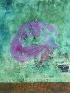 Rosa Akt mit Hünengrab und roter Erde_2012, 122x90