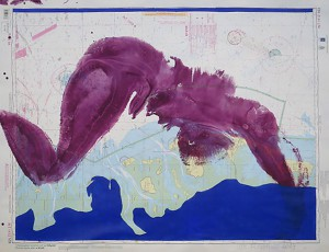 Roter Akt auf Seekarte III_2014, Acryl auf Seekarte, ca. 130x100