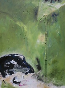 Tier auf Grün_2001, Acryl a. Leinwand m. Collage, 107x80