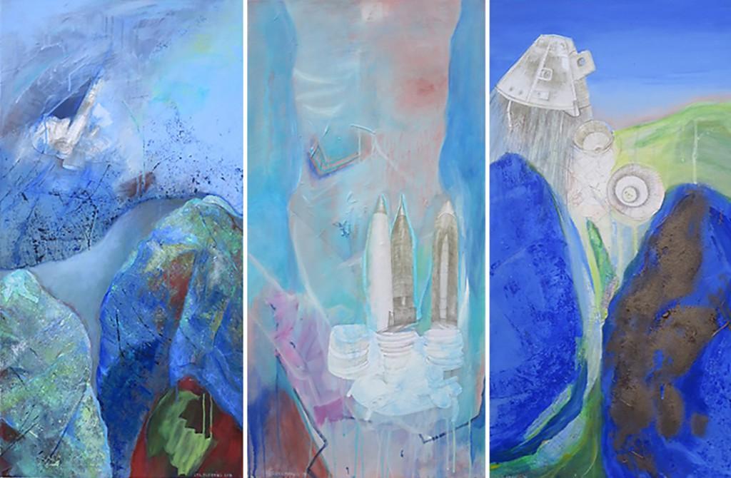 """Triptychon """"Entwicklung""""_2014, Acryl a. Leinwand m. Collage"""